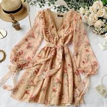 Vestido feminino primavera verão nova celebridade cibernética elegante ins puff manga babados decote em v laço floral chiffon vestido ml865