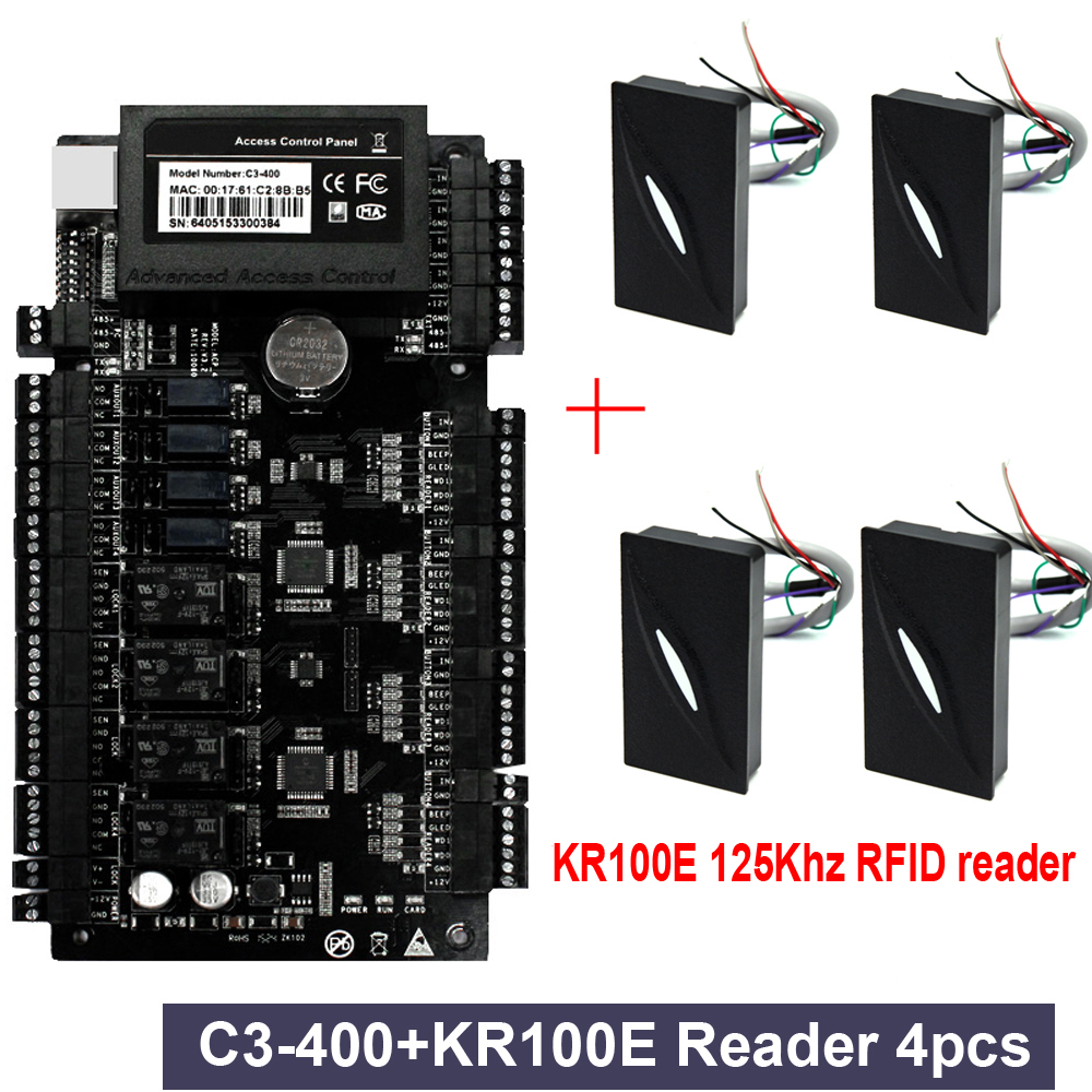 4pc KR100E+ 1pc C3-400 kit IP-based Door Access Control Panel TCP/IP RS485 Communication Advanced Access Control Wiegand 26