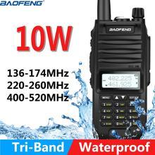 Baofeng Walkie Talkie bidireccional resistente al agua, BF F11, 10W, actualizado de BF UVF10, 4800Mah, IP67, tri Banda, 10KM de largo alcance
