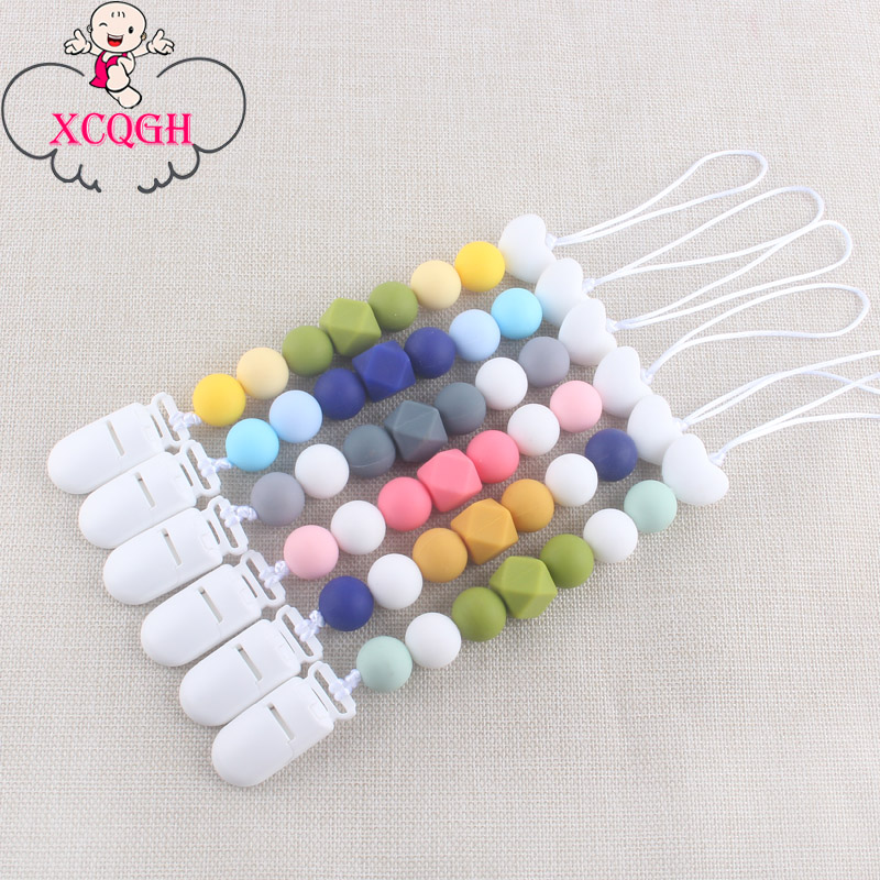 XCQGH Pacifier Clips Chain Food Grade Silicone Beads Newborn Baby Nipple Teether Holder Strap Leash For Chupetas