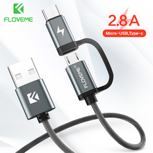 FLOVEME 2 in 1 Mirco USB + Type C USB Cable 2.8A Fast Charger for Redmi Note 8 P