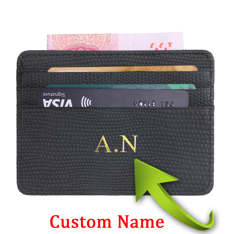 Индивидуальный Rfid Держатель для визиток и карт, защита для карт, персонализированный кошелек с личи, с гравировкой, для мужчин и женщин