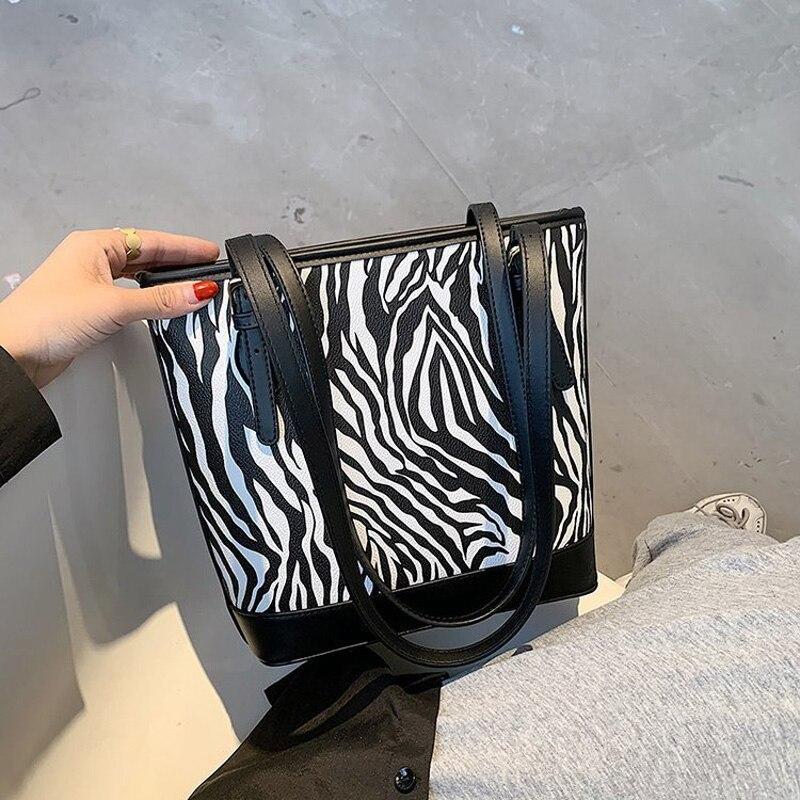 Роскошные дизайнерские сумки на плечо с рисунком зебры для женщин 2020 зимние сумки на плечо и кошельки Женская Классическая дорожная сумочка