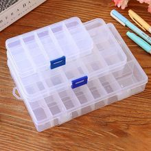 15/10/24 Grid Adjustable Plastic Jewelry Storage Box Case Craft Organizer Compartment Transparent Medicine Home