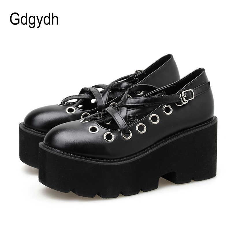 Gdgydh Frühling Japanischen Student Lolita Goth Schuhe Plattform College Uniform Schuhe PU Leder Frauen Casual Schuhe Block Ferse Neue