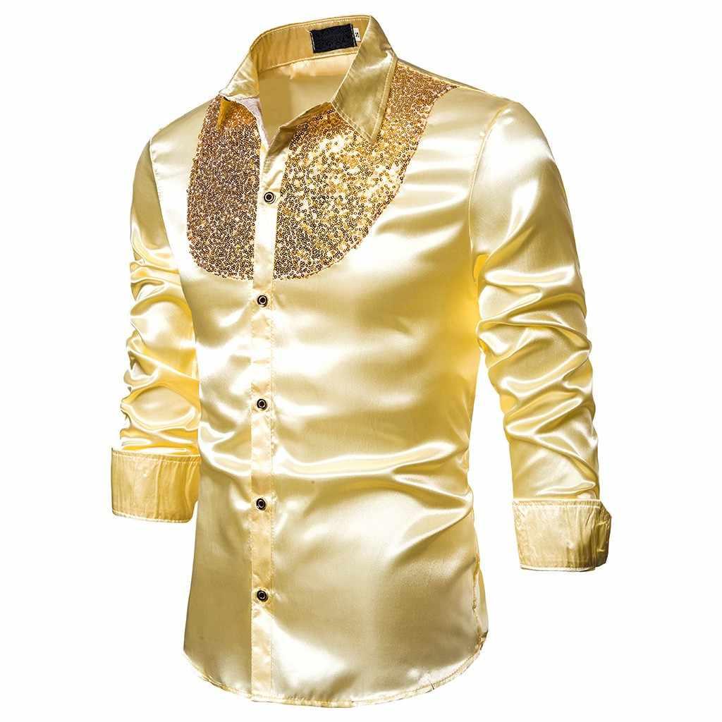 남자 럭셔리 스팽글 드레스 셔츠 긴 소매 실크 새틴 반짝이 디스코 파티 셔츠 남자 chemise 무대 댄스 나이트 클럽 댄스 파티 의상