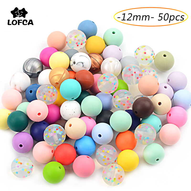 LOFCA 50pc Silicone Beads 12mm Loose Tie Dye Beads Food Grade Silicone Baby Teething Toy Chews Pacifier clips Nursing Necklace(China)