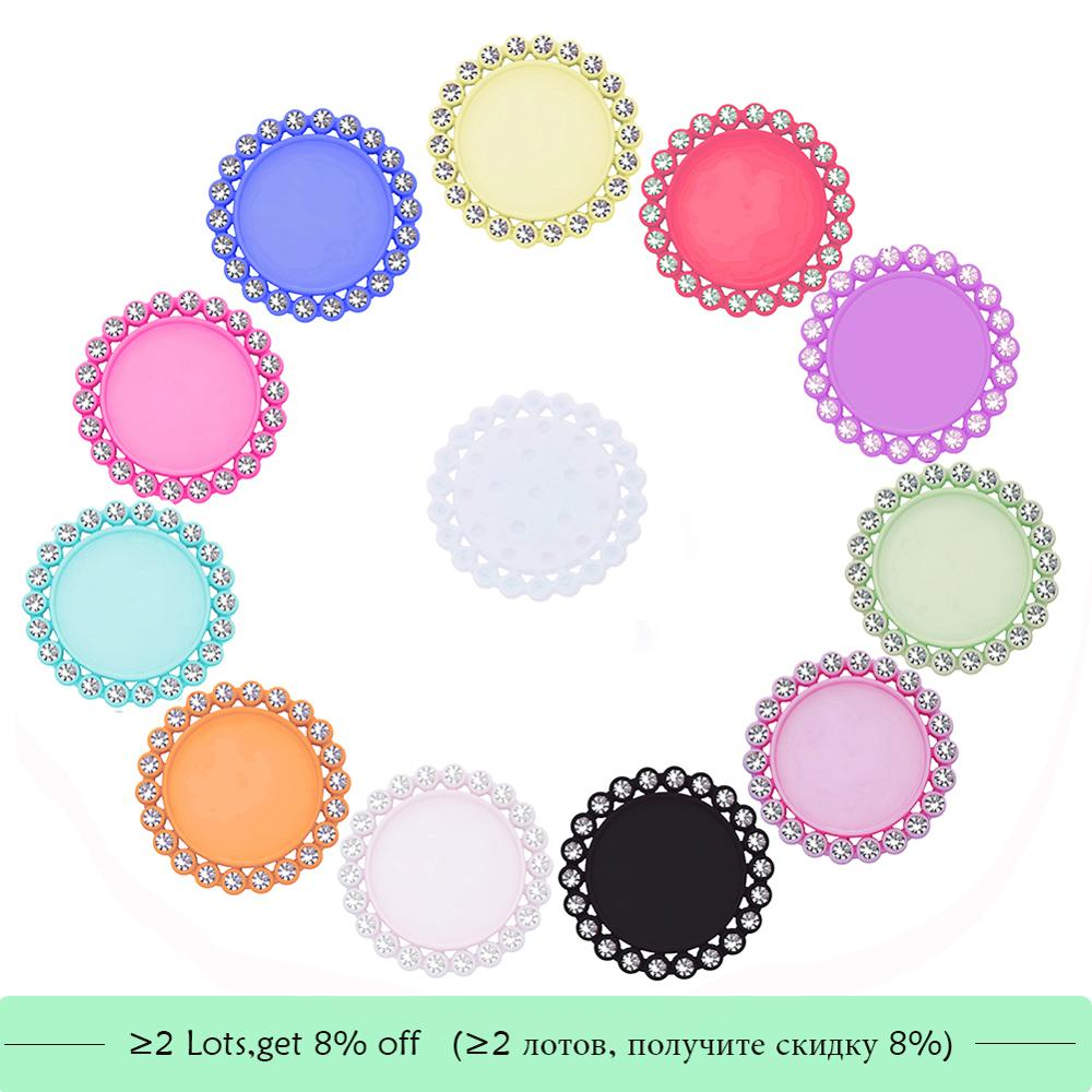Rhinestone Button Resin Bottle Cap Tray Setting Key Cover Lids For Cabochons Cameo Inside Size 25mm 1 Inch &20mm 10PCS BTN-5654
