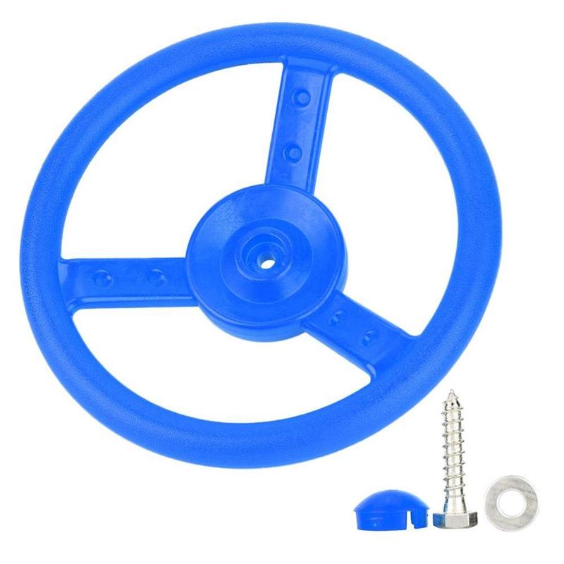 Blue Plastic Steering Wheel Children's Game Small Steering Wheel Perfect for Kids Children Climbing Frame Tree House Play House|  - title=