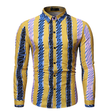 Fashion  3 Colors Striped Casual Shirt camisa Masculina Lapel Men's Long-sleeved Slim