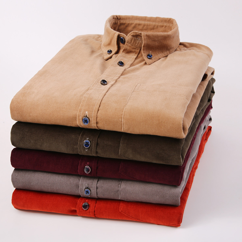 Autumn New Men's Shirts Solid Color Slim Casual Corduroy Shirt Large Size Single-breasted Long-sleeved Men's Shirt Plus Size 5XL