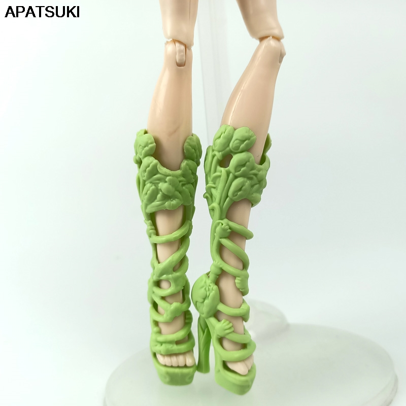 Green Fashion Doll Shoes For Monster High Doll High-heel Shoes Boots For Ever After High 1/6 Monster Dolls Accessories