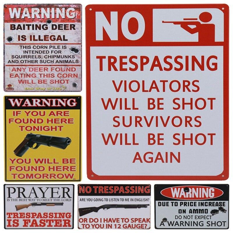 No Trespassing Violators will be Shot Funny Warning Danger Large Metal Tin Sign