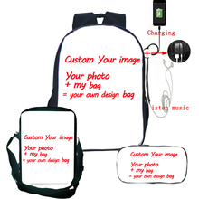 Custom Your Image Customized Pattern USB Charge Backpack Tees Schoolbag 3pcs/set Backpack+Shoulder Bag+pencil Case Drop Shipping
