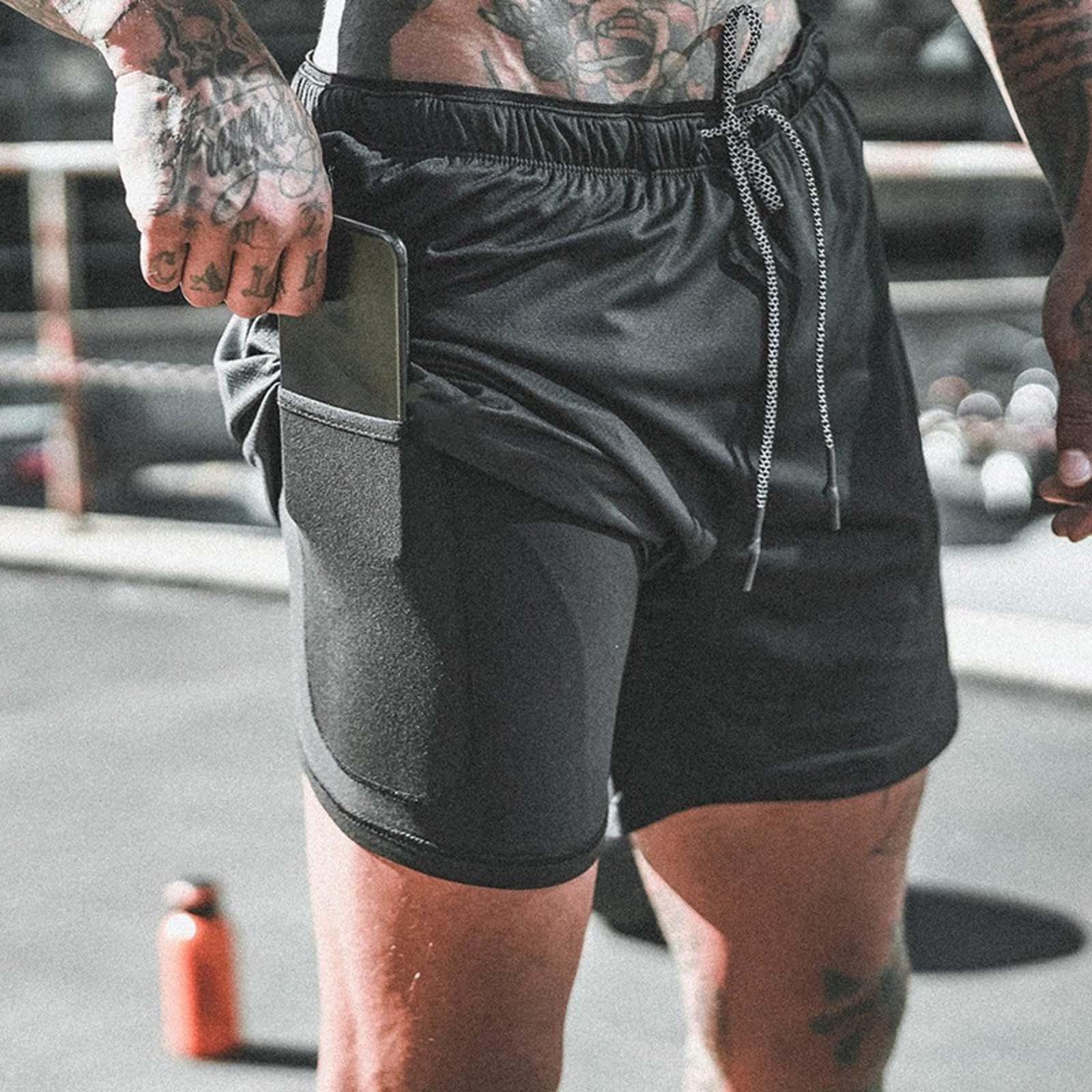 Мужские спортивные шорты с карманами, двухслойные быстросохнущие шорты для тренажерного зала, плавки, шорты для фитнеса, обтягивающие мужс...