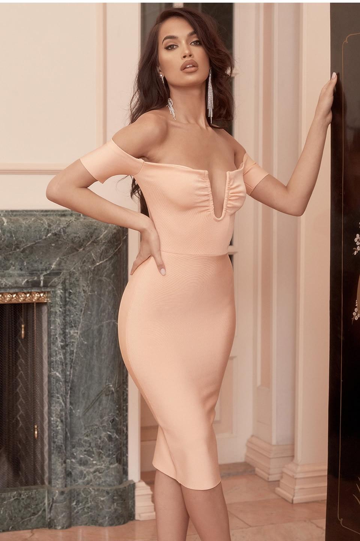 Épaules dénudées col en V fil Sexy robe de pansement 2019 été fête robe Midi femmes pêche Orange Vestidos