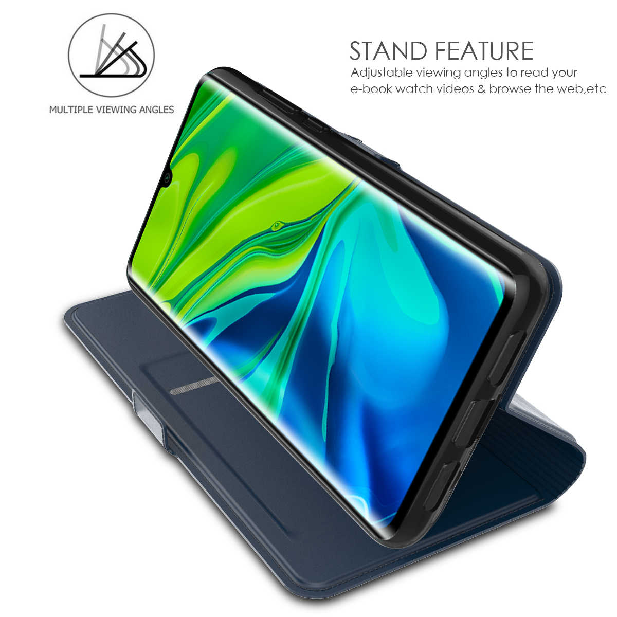 Cho Xiao Mi Mi Note 10 Ốp Lưng Da PU Cấp Kiểu Ví Toàn Thân Nắp Túi Có Nam Châm Khóa Vỏ cho Mi CC9 Pro Thẻ