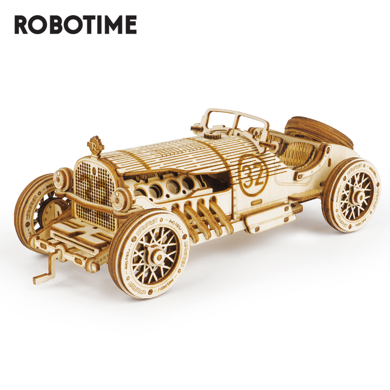 Robotime ROKR 3D Wooden Puzzle Game Assemble Racing Car Model Toys For Children Gifts MC401
