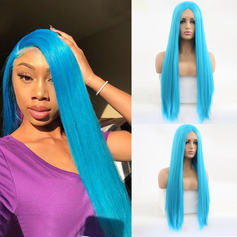 Charisma Heat Resistant Hair Blue Wig Silky Straight Synthetic Lace Front Wig For Women Long Hair Wigs For Women