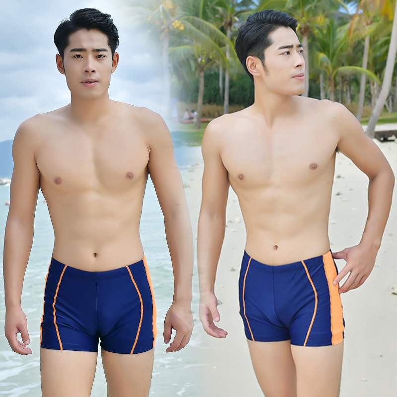 Europe And America MEN'S Swimming Trunks Boxer Swimming Trunks Fashion Back Pocket Design Beach Shorts Breathable Quick Drying P