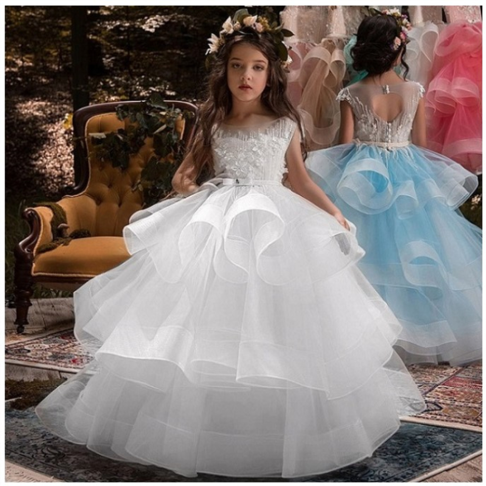 Free Shipping Flower Girl Dresses Tulle 2020 Beading Appliqued Pageant Dresses For Girls First Communion Dresses Kids Prom Dress