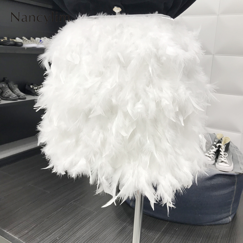 Ins Super Fire Feather Skirt Party Pengpeng Feather Skirts Women 2019 New Joker High Waist White Black Skirt Vestidos Girl