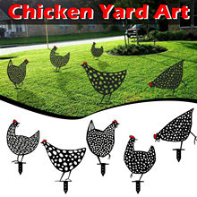 Galinha quintal arte do metal galinha arte jardinagem ornamentos jardim quintal gramado estacas de metal galinha quintal decoração presente páscoa