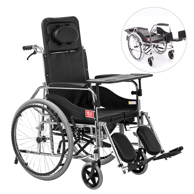 Wheelchair With Seats Can Fully Lie Down In A Multi-functional Folding Portable Paralysis Trolley Instead Of Walking