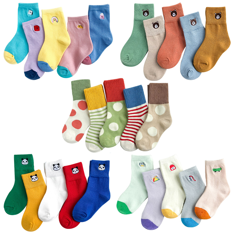 Kids Winter Socks 5 Pairs Toddler Animal Cartoon Plain Rainbow Short Warm Sock Child Baby Boy Girl Cotton School Teenager Socks
