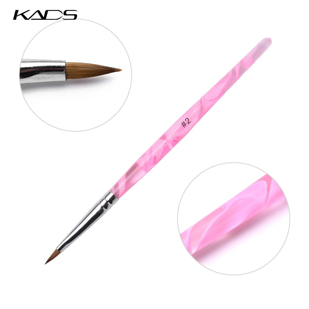 KADS 2# Kolinsky Acrylic Nail Brush UV Gel Builder Painting Drawing Dotting Pen Brush Carving Tips Manicure Salon Nail Art Tool