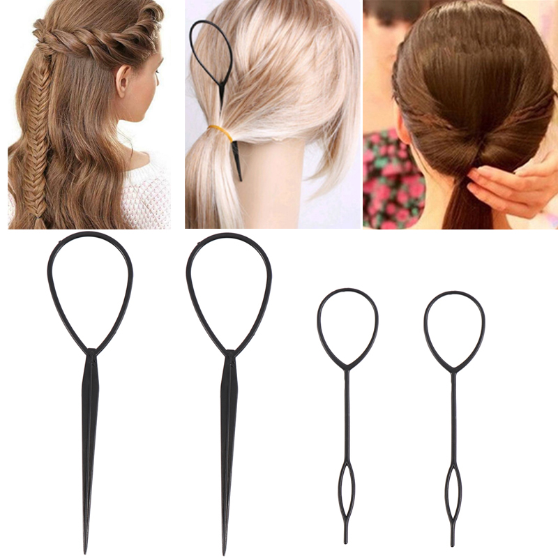 4 Pcs Fashion Ponytail Creator Plastic Loop Popular Hair Styling Tools Black Topsy Tail Clip Hair Braid Maker Fashion Salon