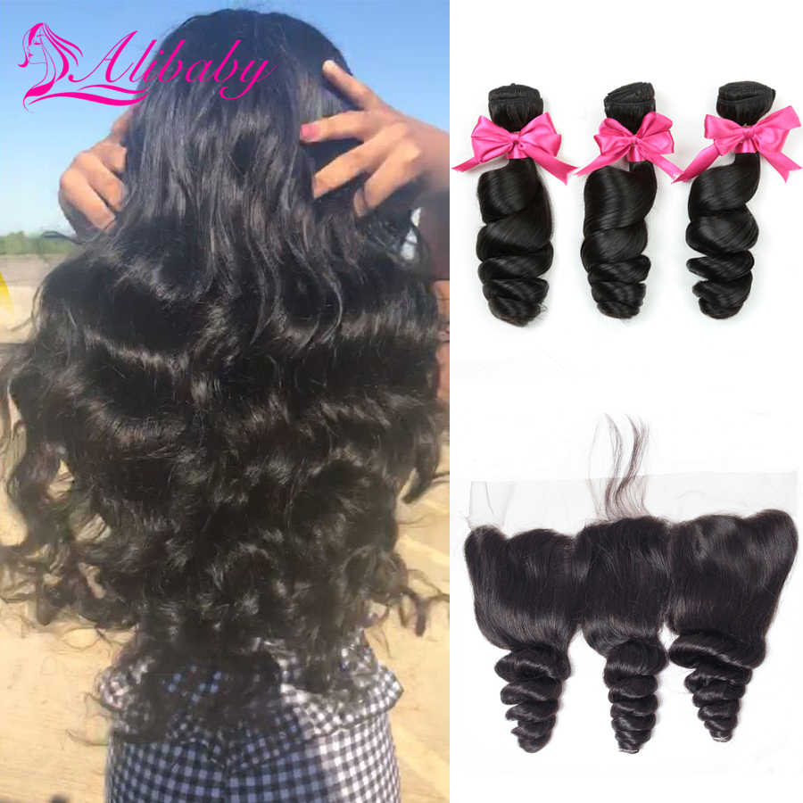 Alibaby Loose Wave Bundles With Frontal Closure Non Remy 3 Bundles With Closure 100% Human Hair Bundles With Frontal 8-30 Inch