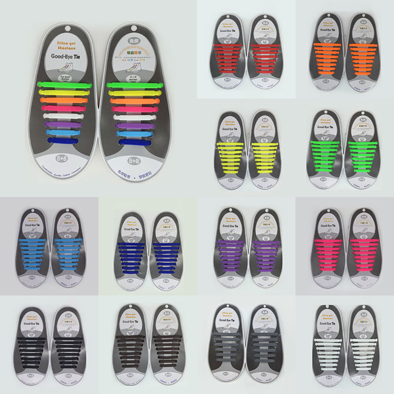 16pcs/lot Silicone Shoelaces Elastic Shoe Laces Special No Tie Shoelace For Men Women Lacing Rubber Shoes Women Laces 13 Colors