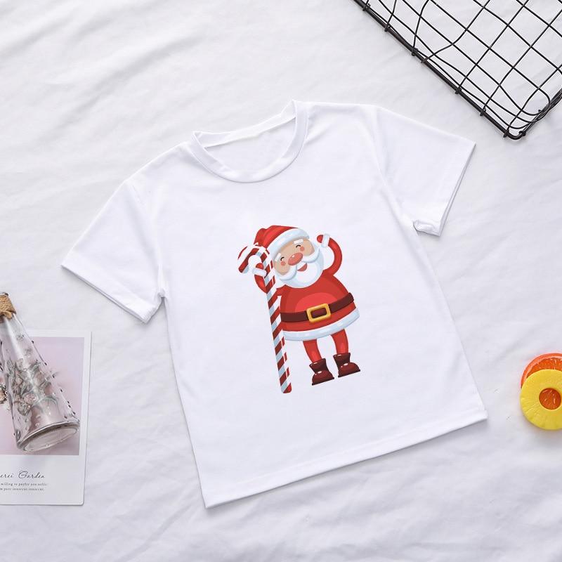 Casual Summer Kids Boys T Shirt Santa Claus Tree Elk Kawaii Printing Christmas Shirt Lovely Short Sleeve Fashion Baby Girl Tops 2