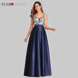 Image 3 - Сексуальное атласное платье для выпускного вечера Ever Pretty EZ07638 ТРАПЕЦИЕВИДНОЕ ПЛАТЬЕ С глубоким v образным вырезом и блестками без рукавов, блестящие вечерние платья Vestido De Gala