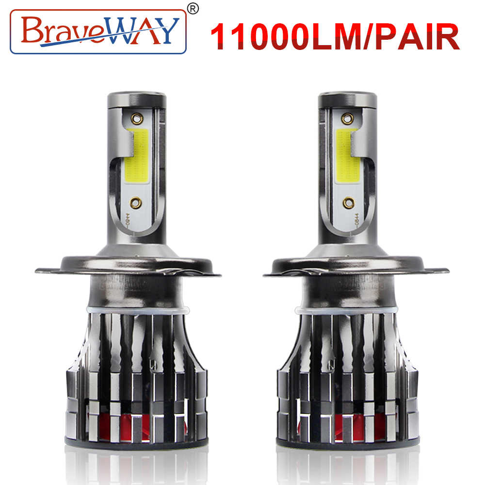 BraveWay LED Headlight Bulbs for Car Motorcycle H4 H7 LED Bulb H11 H1 Auto Fog Light H4 Lamp 9005 9006 HB3 HB4 6000K 11200LM 96W