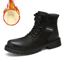 Plus Size 38-48 Warmest Snow Boots Handmade Natural Cow Leather Men Russian Style Genuine Winter Shoes