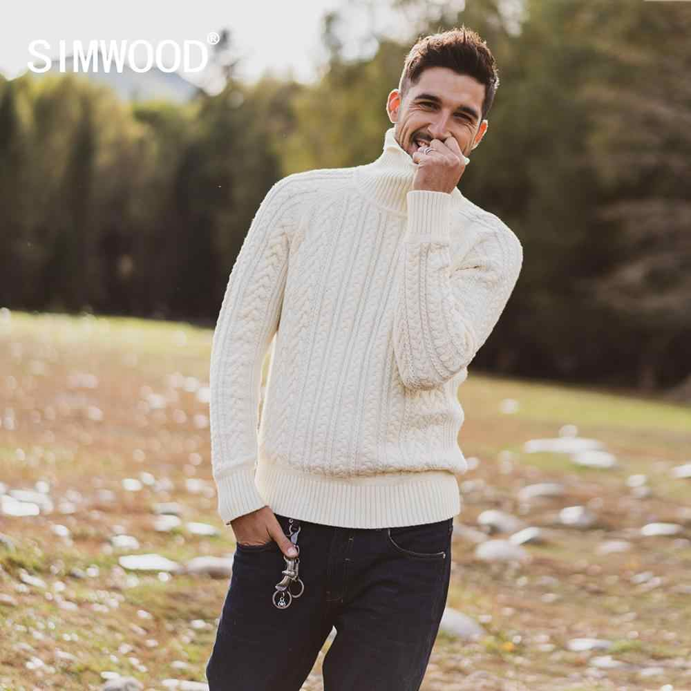 Simwood 2019 가을 겨울 새로운 케이블 니트 터틀넥 스웨터 남자 따뜻한 니트 플러스 크기 고품질 브랜드 의류 si980729