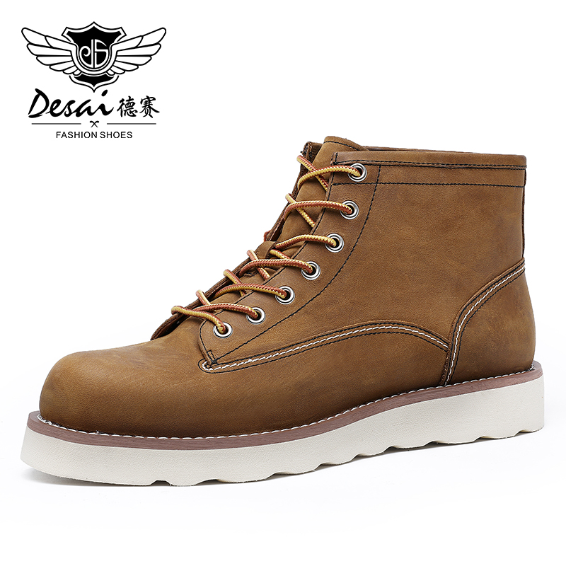 DESAI Men's Martins Short Boots High-Top Winter Genuine Leather Shoes Fashion New Arrival British Style 2020 Outdoor