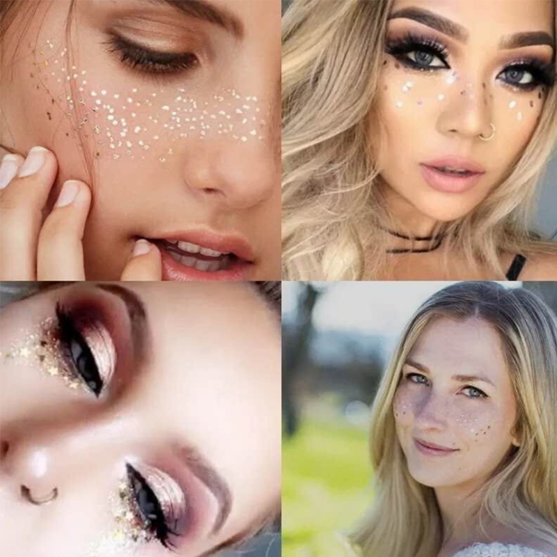 Gold Face Temporary Tattoo Sticker Rhinestone Fake Tattoo Stickers Body Glitter Freckles Waterproof Tattoos Flash Party Makeup