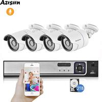 AZISHN 4CH 5MP POE NVR Security System H.265 5MP 4MP 2MP Audio Recording Outdoor IP66 Waterproof IP Camera Home Surveillance Kit
