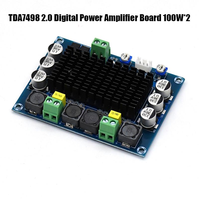 TDA7498 2,0 цифровой усилитель мощности 100 Вт * 2 двухканальный стерео аудио класса d усилитель для динамиков DC12-32V