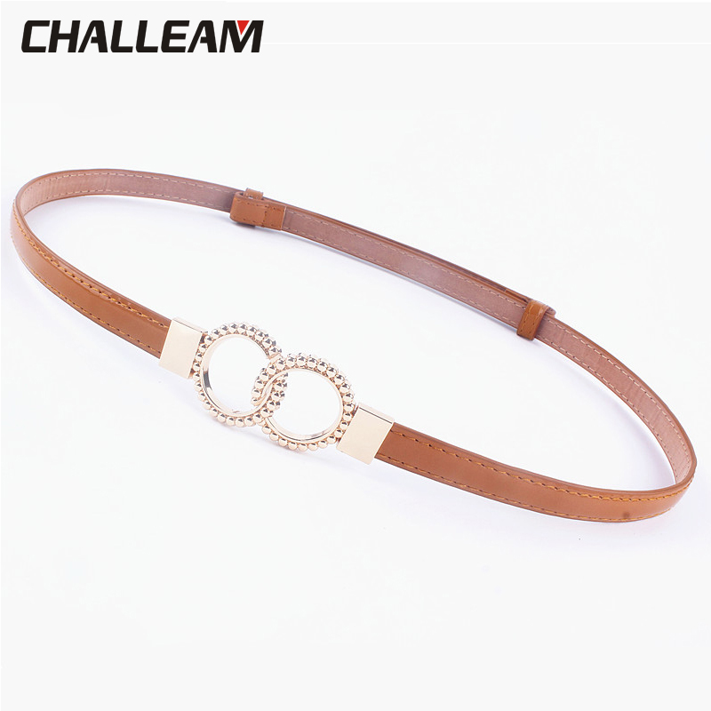 Female Adjustable Black Waist Leather Belt For Dress Skirt Fashion Women Thin Belt Ladies Girls White Ring Belts Jeans 533