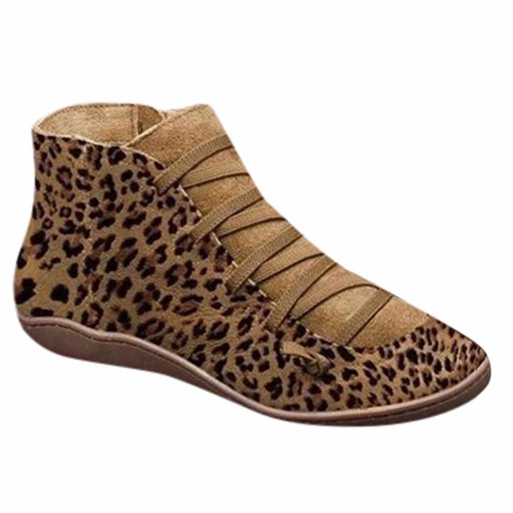 Ayakkabı kadın kışlık botlar kadın zapatos de mujer bayan yeni rahat düz leopar baskı dantel-up fermuar yuvarlak ayak ayakkabı ayak bileği patik