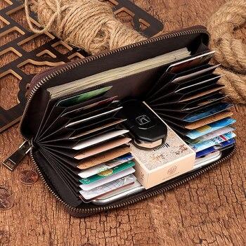 GZCZ 100% Crazy Horse Leather Clutch Wallets for Men RFID Blocking Card Holder Wallet Coin Purse Zipper Long Phone Wallet jmd crazy horse leather wallet embossed alligator pattern long wallet card holder 8067r