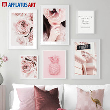 цена Pink Rose Flower Girl Pineapple Landscape Wall Art Canvas Painting Nordic Posters And Prints Wall Pictures For Living Room Decor