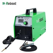 Reinicialização mig soldador gasless 220v mig120 máquina de solda mag soldadores ferro aço equipamento de solda mig mag portátil welde