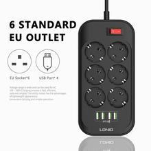 В наличии ЕС штекер Смарт электрические гнездо расширения Мощность полосы 3.4A 6 розетки 4 USB Зарядное устройство адаптер Surge переключатель ди...
