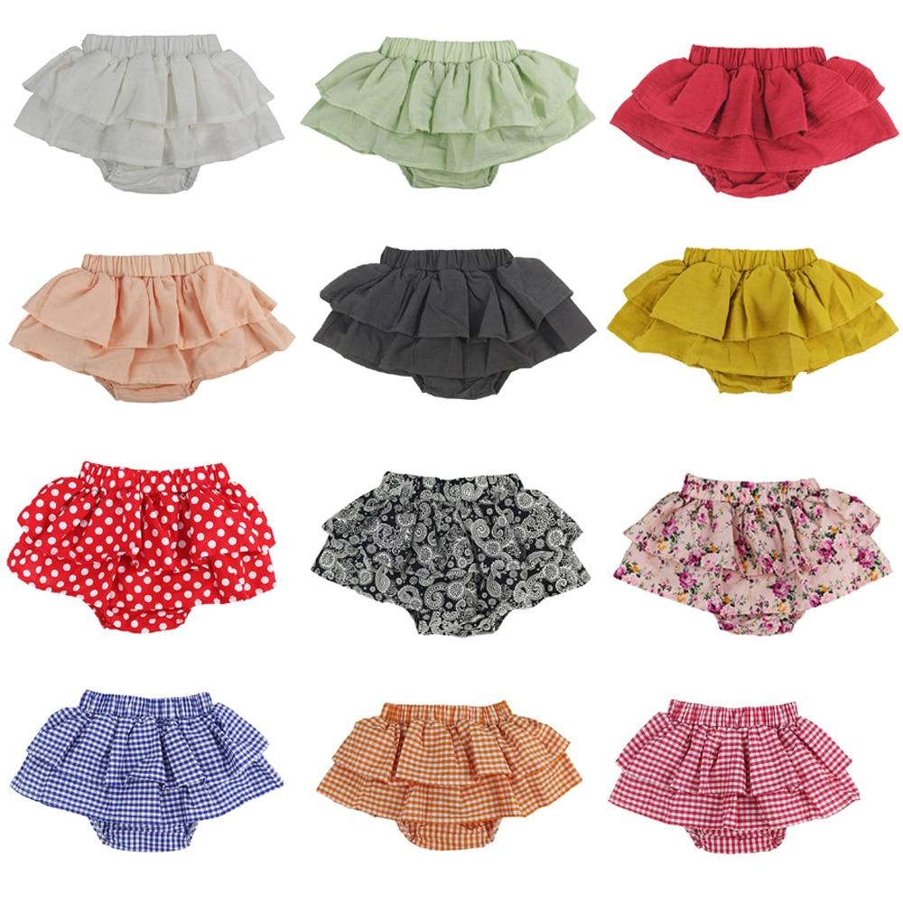 Детские подгузники из хлопка с оборками, детские подгузники разных цветов, детские шорты с рюшами