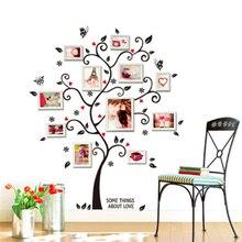 Pegatina de pared de árbol con marco de foto familiar, bricolaje, calcomanías para sala de estar y dormitorio, póster, decoración del hogar, papel tapiz